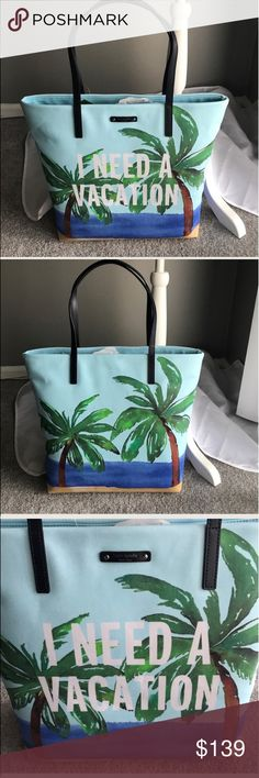 Kate Spade talk the talk shopper/tote/beach bag. REASONABLE OFFERS APPRECIATED                 ⭐️ Kate Spade talk the talk shopper/tote/beach bag NWT. COLOR ineedavctn⭐️                               NO TRADES PLEASE. kate spade Bags