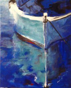 BARQUE à L'ANCRE bleu, turquoise (Peinture),  65x80x2 cm par brigitte KRIEF BARQUE à L'ANCRE bleu, turquoise. Reflets sur l'eau. Graphisme et acrylique sur chassis entoilé  65 x 80 cm