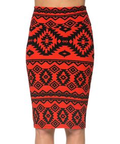 Another great find on #zulily! Magic Fit Red & Black Geometric Pencil Skirt by Magic Fit #zulilyfinds