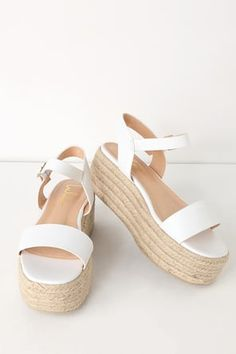 Trek down to the water in style with the Corsa White Espadrille Flatform Sandals! Sleek vegan leather covers a wide toe band, paired with an adjustable quarter strap (and silver buckle). Lace Up Espadrille Wedges, Lace Wedges, Lace Up Espadrilles, Beige Wedges, Cute Shoes, Me Too Shoes, Toe Band, White Sandals, Denim Sandals
