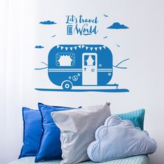 Let's travel the world caravan wall sticker - Bedroom wall decal - Wanderlust wall sticker Wall Decals For Bedroom, Wall Decal Sticker, Wall Stickers, Let It Be, Caravans, World, Handmade Gifts, Wanderlust, Travel