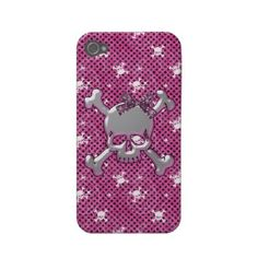 Cute skulls and black polka dots pink iphone 4 case. $36.60.  Cool gift for teen girls!