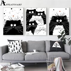 Black White Kawaii Cat Wall Art Canvas Painting Animals Nordic Posters And Prints Nursery Wall Pictures Kids Room Bedroom Decor White Canvas Art, Black And White Wall Art, Black And White Painting, Canvas Wall Art, Wall Art Prints, Black Canvas, Diy Canvas, Images Murales, Tier Wallpaper