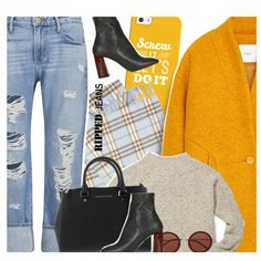 A fashion look from October 2015 by ino-6283 featuring Rebecca Minkoff, MANGO, Frame Denim, Topshop, Burberry, Casetify and The Row