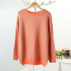Orange Tone Cut-out Design Contrast Colored Sweater $28.99