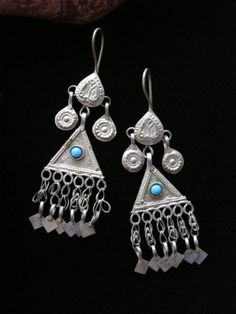 Vintage Turkmen Ersari Tribal Jewelry Dangle Earrings
