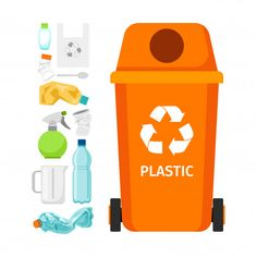Orange garbage can with plastic Premium Vector Preschool Arts And Crafts, Preschool Education, Classroom Crafts, Science Classroom, Science Education, Physical Science, Science Experiments, Recycling Games, Boat Drawing