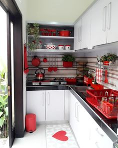 Incredible Facts About Kitchen Set Inspirations with Modern Design - homeknicknack Kitchen Room Design, Kitchen Sets, Home Decor Kitchen, Home Kitchens, Kitchen Dining, Kitchen Cabinets, Home Interior, Kitchen Interior, Red Kitchen Island