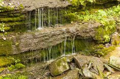 Water dripping down rocks over moss.