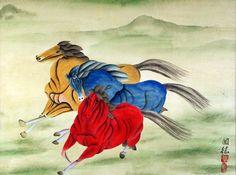 equestrian paintings | ... Horses Watercolor Painting - Asian Horse Artwork - Asian Artwork