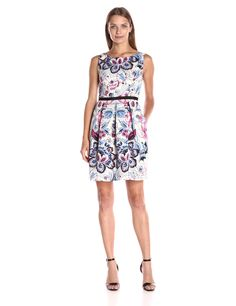 Adrianna Papell Women's Moving Floral Printed Faille Fit and Flare, Blue/Multi, 10. Cotton faille. Non-stretch.