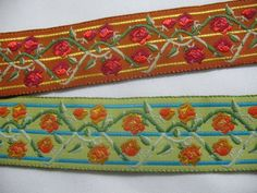 1 wide Floral Embroidered Fabric woven vintage ribbon in by Toide