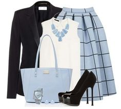 Powder Blue & Black Midi Skirt ▶suggested by ~Sophistic Flair~