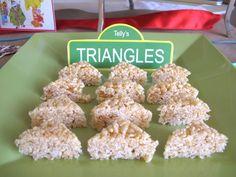 Sesame Street Birthday Party Ideas, Telly's Triangles via elevencupcakes 11cupcakes.com #sesamestreet #elmoparty #11cupcakes #sesame
