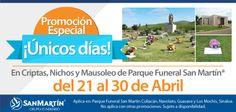 Aprovecha la promoción especial en Parques Funerales San Martín ¡Únicos días!