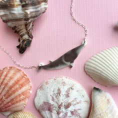 Minke Whale Charm Necklace on Etsy   #minkewhale #whale #necklace #cetacean #jewelry #etsy #handmade #charm #resin #craft #seashell #necklace #fashion #whalenecklace
