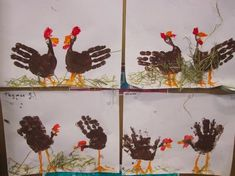Turkey art for kids to do Farm Crafts, Kids Crafts, Arts And Crafts, Turkey Handprint, Handprint Art, Thanksgiving Crafts For Kids, Holiday Crafts, Thanksgiving Cards, Farm 2017