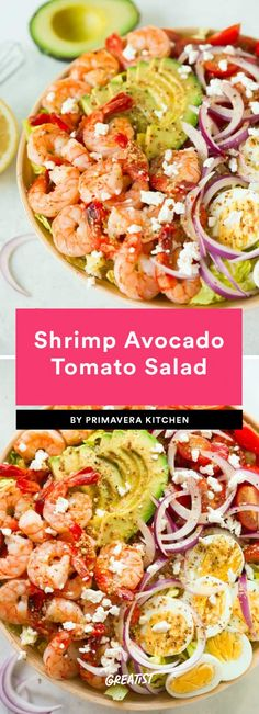 It's tricky business finding a salad that's both light and filling but this recipe pulls it off beautifully with a simple lemon dressing and protein from shrimp eggs and sliced avocado. Though we love how the crumbles of feta bring the flavors together High Protein Salads, Healthy Salads, Healthy Eating, High Protein Meal Prep, Healthy Food, Taco Salads, Salad Recipes, Diet Recipes, Cooking Recipes