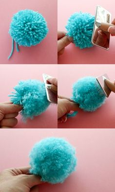 How to make a fluffy pom pom – pom pom DIY – pom hacks – pom tricks – pom poms - Top Diy ProjectsThe Secret to making Super Fluffy Pom Poms - use a cat grooming brush.Everybody loves a good pom pom, they have so many great crafty uses. The Secret Kids Crafts, Yarn Crafts, Crafts To Sell, Diy And Crafts, Paper Crafts, Sell Diy, Kids Diy, Handmade Crafts, Decor Crafts