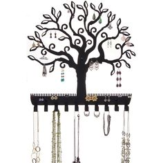 Tree of Life Jewelry Holder Wall Mount Earring Organizer Necklace Rack, Black Jewelry Holder Wall, Necklace Storage, Jewelry Wall, Hanging Jewelry Organizer, Leaf Jewelry, Jewellery Storage, Jewelry Organization, Jewelry Shop, Earring Holders