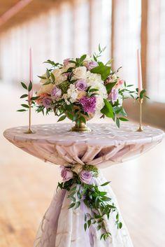 lavender weddings, elegant wedding ideas, cocktail table décor, wedding centerpieces, wedding centerpiece ideas, lavender wedding centerpiece ideas, low hydrangea centerpieces