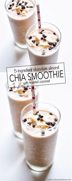 5-Ingredient Chocolate Almond Chia Smoothie with Toasted Coconut: a refreshing and nutritious way to start your day! | www.cookingandbeer.com
