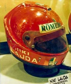 The helmet Lauda was wearing on August 1st, 1976. It came off in the accident; AGV then moved the strap mounts