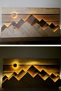 Pallet Wall Shelf Art With cabinets Ideas - Wood Crafts wood art projects Pallet Wall Shelves, Pallet Wall Art, Reclaimed Wood Wall Art, Wooden Wall Decor, Wooden Diy, Shelf Wall, Wall Mirror, Wood Shelf, Wall Wood
