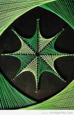 geometric wall string art green Geometric String Art in green tones