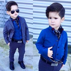 Dressed up boy.blue shirt,cute blazer and dark blue pants.black belt and shoes.perfect boys outfit for a wedding party.dress to impress Little Boy Fashion, Baby Boy Fashion, Toddler Fashion, Toddler Outfits, Boy Outfits, Kids Fashion, Cute Outfits, Fashion Clothes, Style Fashion