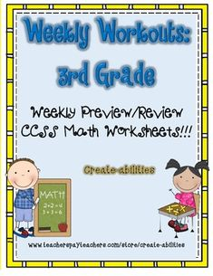 Weekly Workouts Math 3rd Grade Preview/Review Weekly Activities - Use this 78 page resource to help your third graders master addition, subtraction, rounding, multiples, measurement, data, fractions, and geometry. This set is a great review or preview activity! Use it for math centers, stations, activities, small group work, test prep, early or fast finishers, homework, morning work, and more. Click through now for all the details! $