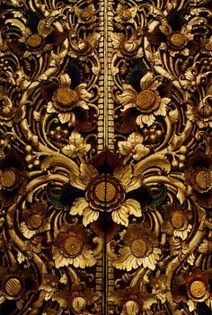 Gilded Carved Door Detail ~ Kintamani Temple, Bali, Indonesia