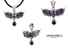 Synthetic Amethyst of Angel Wings Sterling Silver & Enamel Pendant. 100% 925 Sterling Silver. #jewelry #necklace #pendant #fashion #lady  http://www.jinglebelljewelry.com/synthetic-amethyst-of-angel-wings-sterling-silver-enamel-pendant.html
