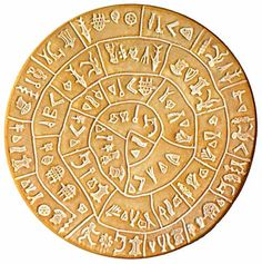 The Phaistos Disc (also spelled Phaistos Disk, Phaestos Disc) is a disk of fired clay from the Minoan palace of Phaistos on the Greek island of Crete, possibly dating to the middle or late Minoan Bronze Age (2nd millennium BC). Side A