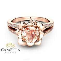 "Morganite Flower Engagement Ring Rose Gold Flower Engagement Ring Peach Pink Morganite Diamond Ring - Camellia Jewelry - For That ""Yes"" Moment Black Hills Gold Jewelry, Rose Gold Jewelry, Jewelry Rings, Vintage Rose Gold Rings, Jewellery Box, Pink Diamond Jewelry, Quartz Jewelry, Silver Rings, Vintage Engagement Rings"