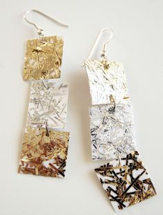 Holiday Sparkle earrings, all you need is metallic wrapping, tinsel,  cardboard, crafting glue