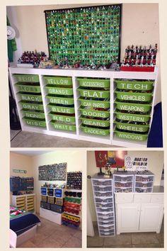Organize your legos Lego Storage, Kids Storage, Lego Shelves, Lego Display, Play Mobile, Lego Table, Lego Room, Playroom Organization, Organizing