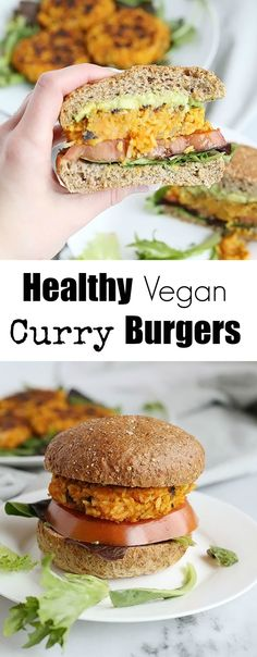 These Healthy Vegan Curry Burgers full of spicy flavor! Made with sweet potatoes, rice, mushrooms and onion along with spices make this a delicious flavorful burger! Vegan and Gluten Free! / TwoRaspberries.com