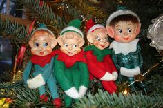Christmas Elves.. I had one in white with red polka dots that ornamented a christmas package my grandma gave me