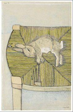 Lucien Freud, Rabbit on Chair, 1944.