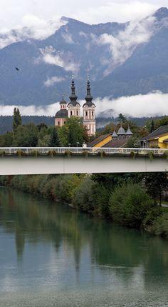 """Baroque"" Heiligenkreuz Church over the Drava River, Villach, Austria (September 27, 2005)"