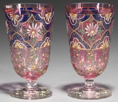 Pair of Moser Cranberry Footed Tumblers, circa 1870.