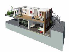 Door: Koen Maas. Deze afbeelding geeft voor mij goed weer hoe ik de woonindeling van de appartementen zou willen hebben in dit project. De indeling van een appartement is dan dat er één verdieping half wordt ingegraven en dat er dan een andere verdieping boven opkomt.