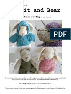 Final Rabbit and Bear Pattern Basic Knitted Fabrics, Knitted Doll Patterns, Knitted Dolls, Knitting Patterns Free, Free Pattern, Sewing Projects For Kids, Knitting Projects, Knitting Ideas, Amigurumi