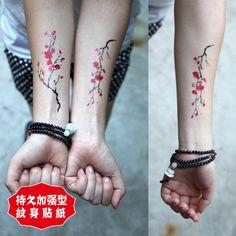 Red plum temporary tattoos Back Abdomen Leg Waterproof temporary tattoos sticker…