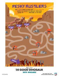 Disney The Good Dinosaur Pesky Rustlers Maze Dinosaur Printables, Dinosaur Activities, Disney Printables, Disney Movies, Disney Pixar, The Good Dinosaur, Activity Sheets, Free Printable Coloring Pages, Prehistoric