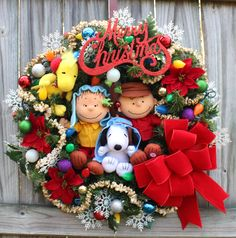 MADE TO ORDER Charlie Brown Christmas Wreath, Woodstock, Shepherd Linus, Snoopy, Large Holiday wreath, pre-lit, velvet bows by IrishGirlsWreaths on Etsy