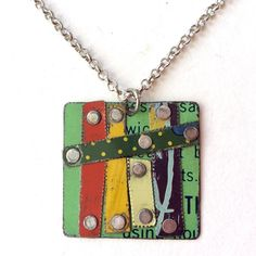 This one of a kind necklace was assembled from vintage tin held together with silver rivets. The chain style is rolo. The square measures 1 scratches or imperfections are a design element and intentional. Funky Jewelry, Clay Jewelry, Handmade Jewelry, Handmade Items, Jewlery, Pendant Design, Design Elements, Diy And Crafts, Upcycle