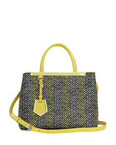 Fendi 2Jours Printed Mini Tote Bag, Yellow