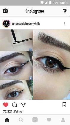 Astuce pour faite un trait   d'eye-liner parfait Anastasia Beverly Hills, Trait Eye Liner, Maquillage On Fleek, Instagram R, Eye Makeup, Hair Makeup, Maquillage Halloween, Hair And Nails, Makeup Looks
